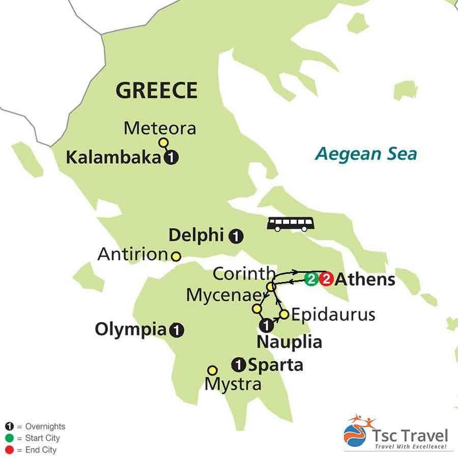 2 Day Argolis Tour Map