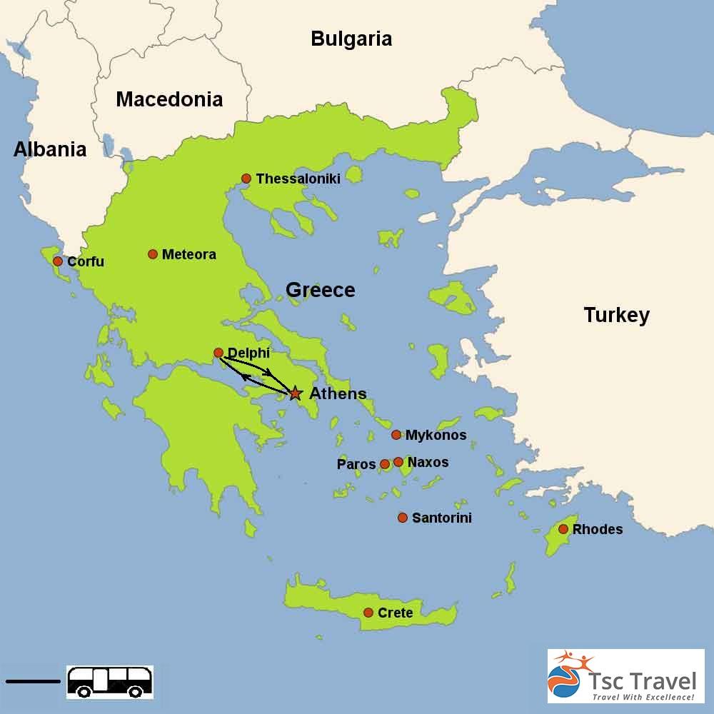 2 Days Tour to Delphi Map