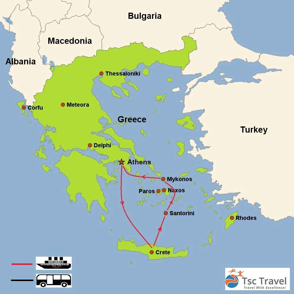 Aegean Breeze Tour Map