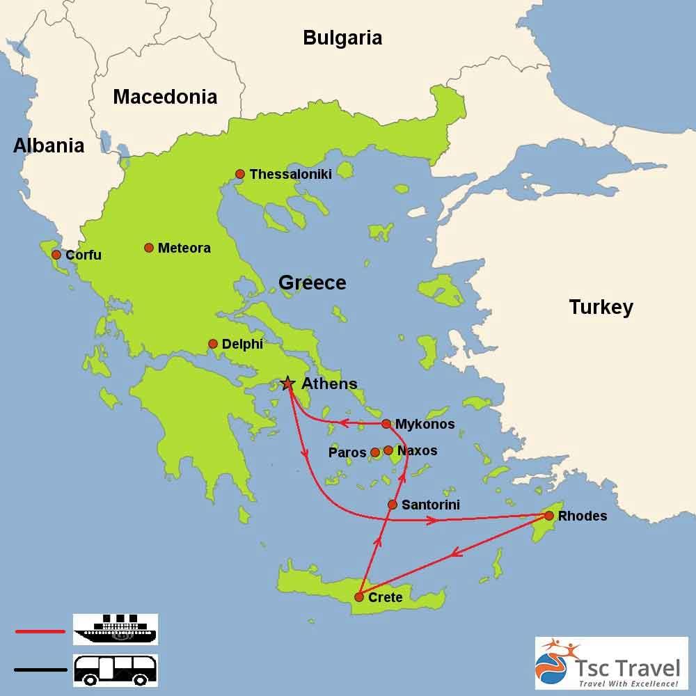 Greek Delight Tour Map