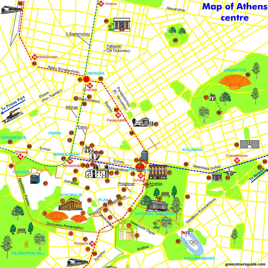 Athens by Night Tour Map
