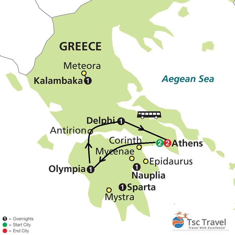 3 Days Classical Tour of Greece Map