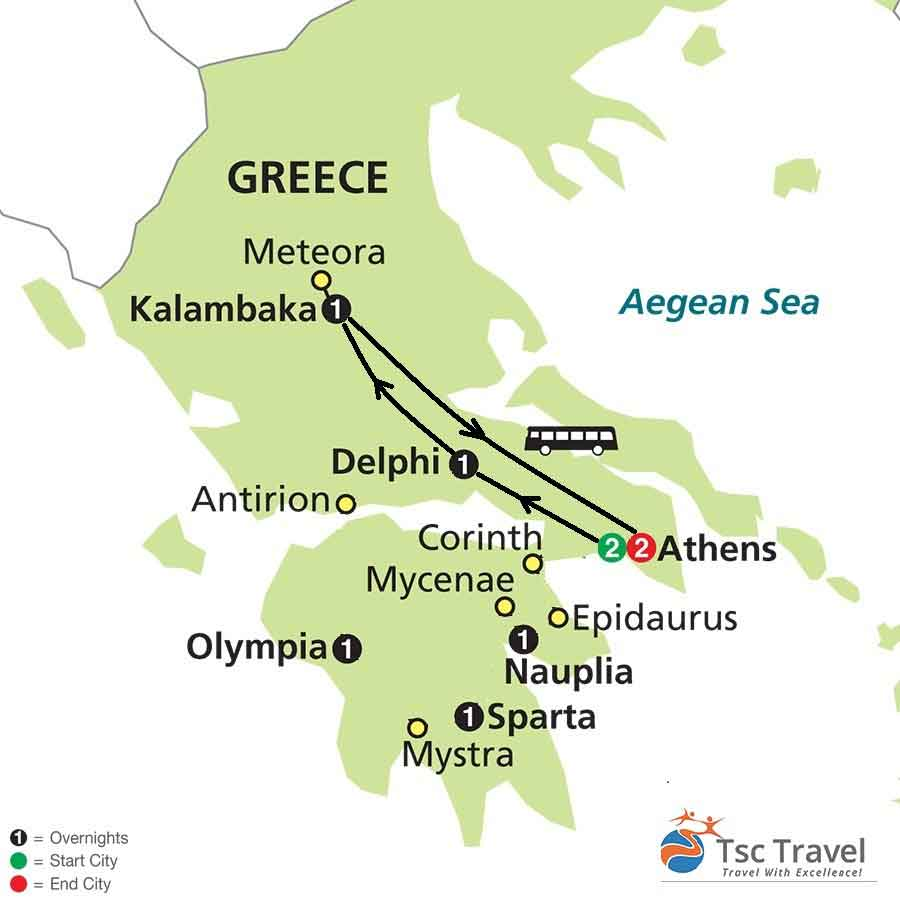 4 Days Classical Tour of Greece with Meteora Map