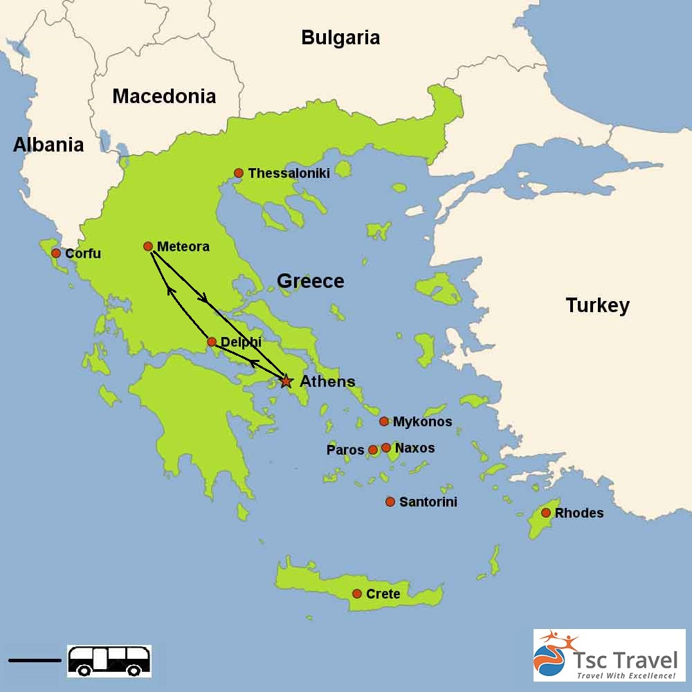 2 Days Delphi & Meteora Tour Map