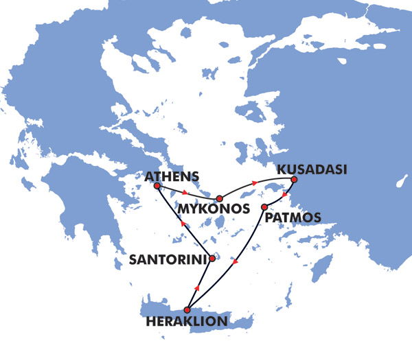 4 Day Iconic Greek Islands Cruise Map