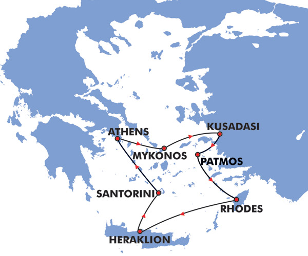 5 Day Iconic Greek Islands Cruise Map