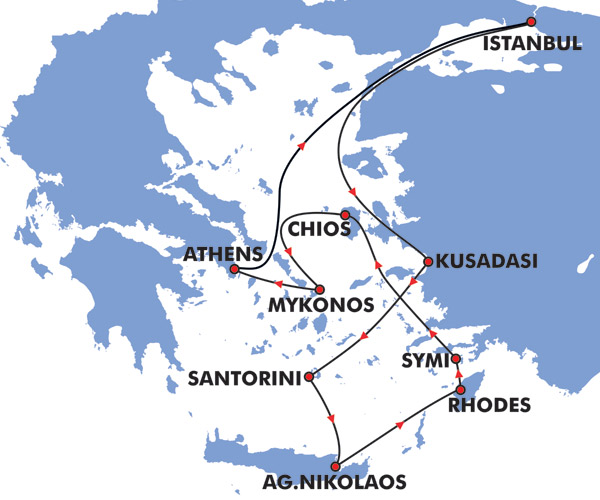 8 Day Iconic Greek Islands Cruise Map