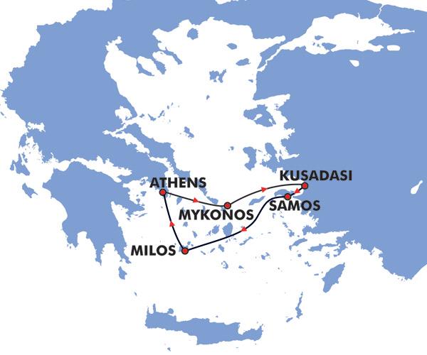 4 Day Idyllic Greek Islands Cruise Map