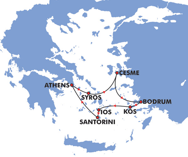 5 Day Idyllic Greek Islands Cruise Map