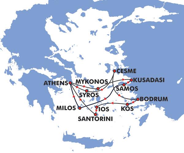 8 Day Idyllic Greek Islands Cruise Map